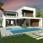 HLEVEL ARCHITECTURE MODERN RESIDENCE DESIGN REAR RENDERED VIEW WOOD CLADDING, FLAT ROOF, ROOF PLANTER, POOL