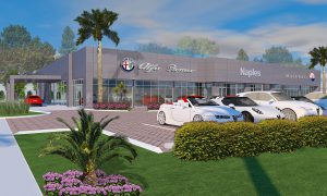 HLEVEL ARCHITECTURE-ALFA ROMEO DEALERSHIP NAPLES FLORIDA RENDERED FRONT VIEW