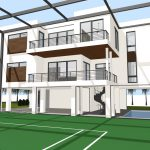 HLEVEL SERENITY SANIBEL RESIDENCE RENDERED VIEW COURTSIDE